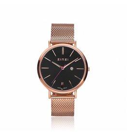 Zinzi horloges Zinzi Retro Rosé Zwarte Plaat  - ZIW404M
