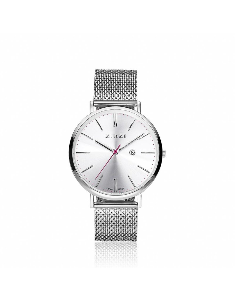 Zinzi horloges Retro Horloge zilver/stl.mesh band - ZIW402M