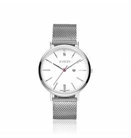 Zinzi horloges Retro Horloge Wijzerplaat Wit Mesh Band - ZIW406M