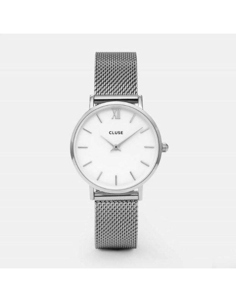 Cluse Minuit Mesh Silver/White - CL30009