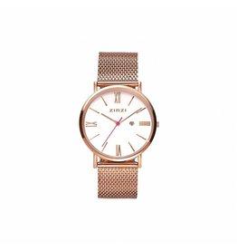 Zinzi horloges Retro Roman Rose/Wit/Mesh - ZIW508M