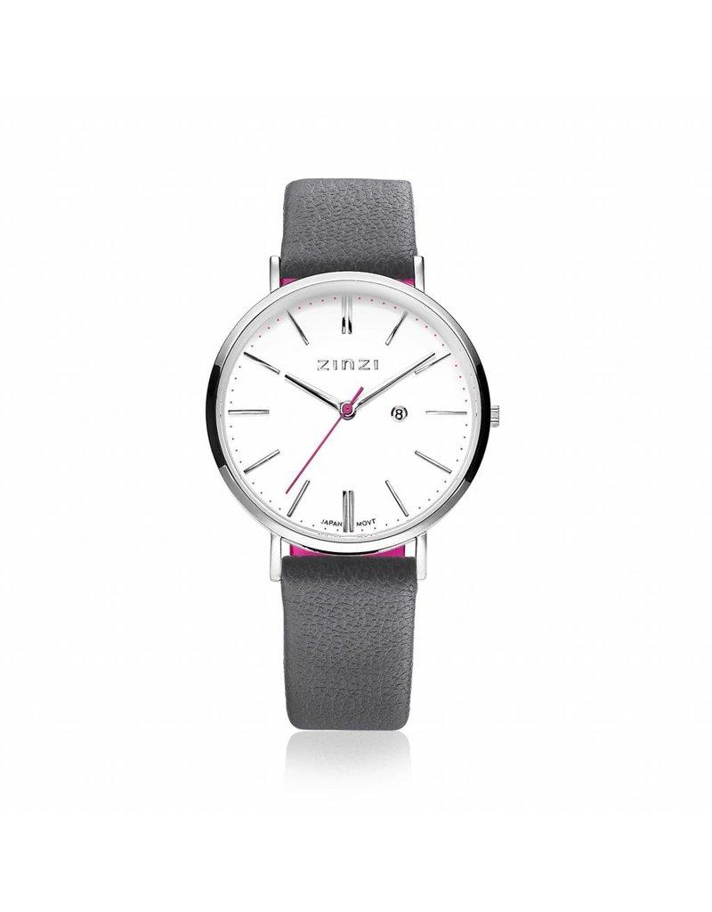 Zinzi horloges Retro Horloge Zilver Wijzerplaat Wit/Grijze band - ZIW406G
