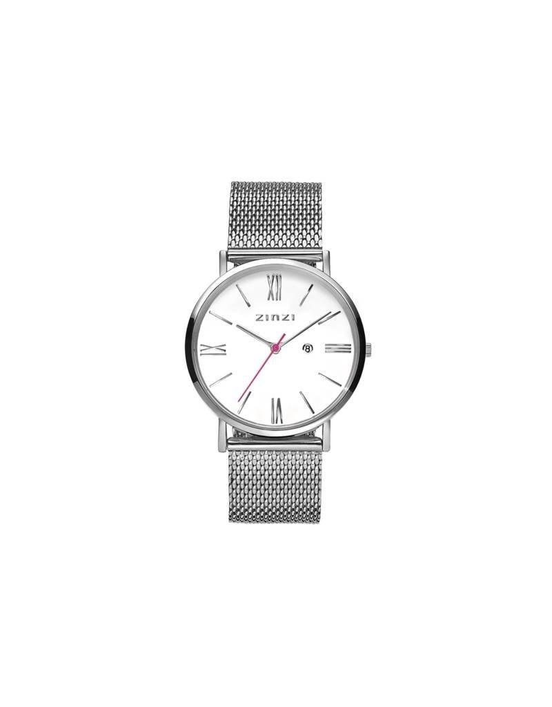 Zinzi horloges Zinzi Retro Roman Wit/Stl Mesh Band - ZIW506m