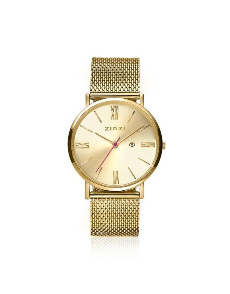 Zinzi horloges Retro Roman Horloge Goud Wijzerplaat Goudkleurige Band - ZIW510M
