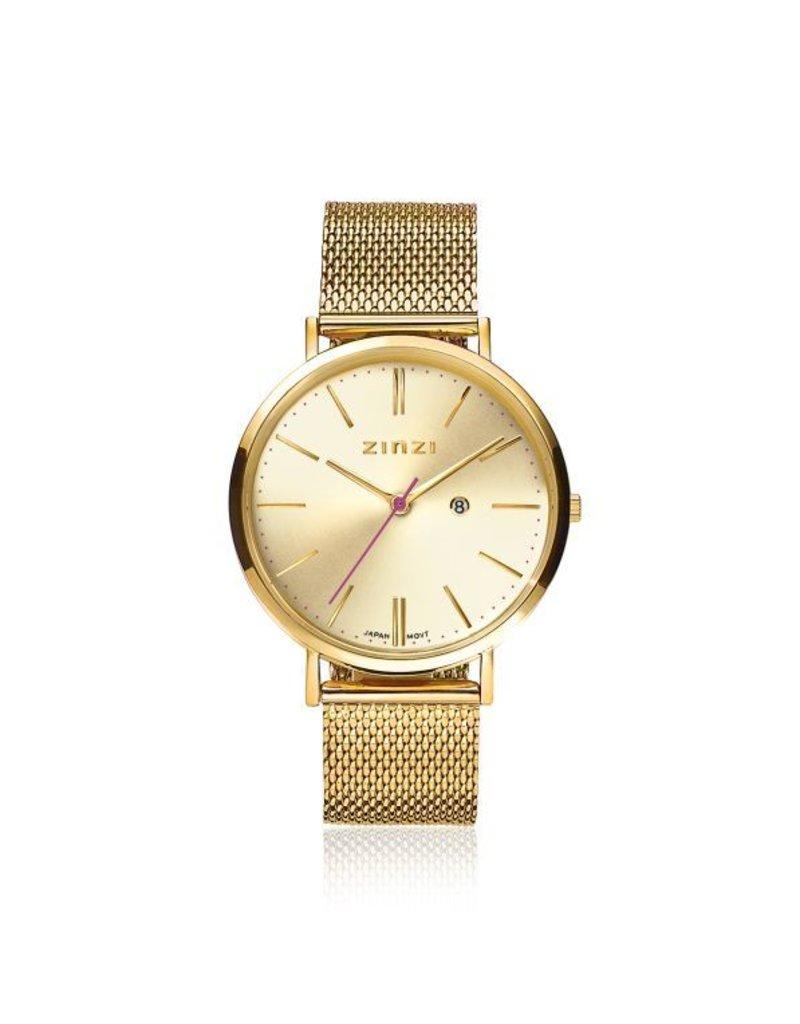 Zinzi horloges Retro Horloge Goud Wijzerplaat Goudkleurige Band - ZIW410M