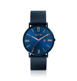 Zinzi horloges Retro Roman Horloge Blauwe Wijzerplaat Blauwe Band - ZIW514M