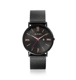 Zinzi horloges Retro Roman Horloge Zwarte Plaat Zwarte Band - ZIW509M