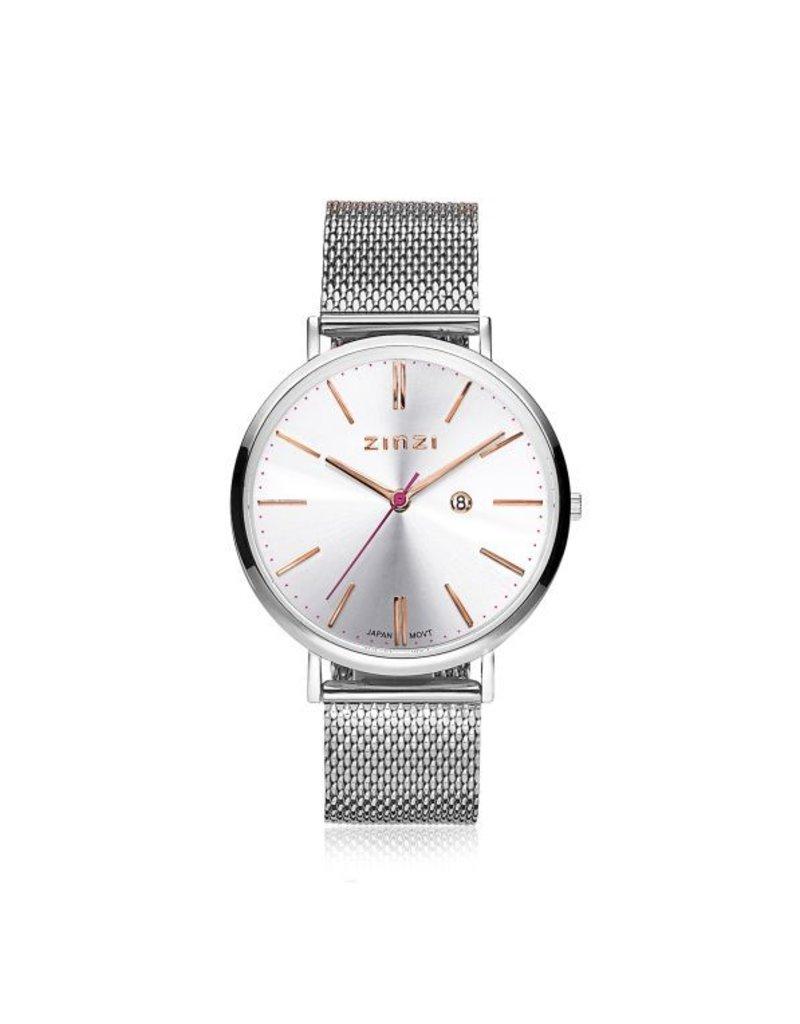 Zinzi horloges Retro Horloge Zilveren Wijzerplaat Zilverkleurige Band - ZIW412M