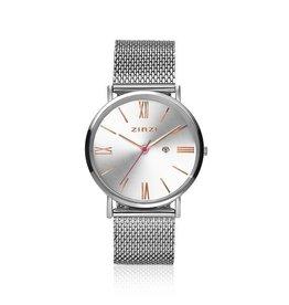 Zinzi horloges Retro Roman Horloge Zilveren Wijzerplaat Zilverkleurige Band - ZIW512M