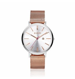Zinzi horloges Retro Horloge Zilverkleurige Wijzerplaat Rosé Band - ZIW412MR