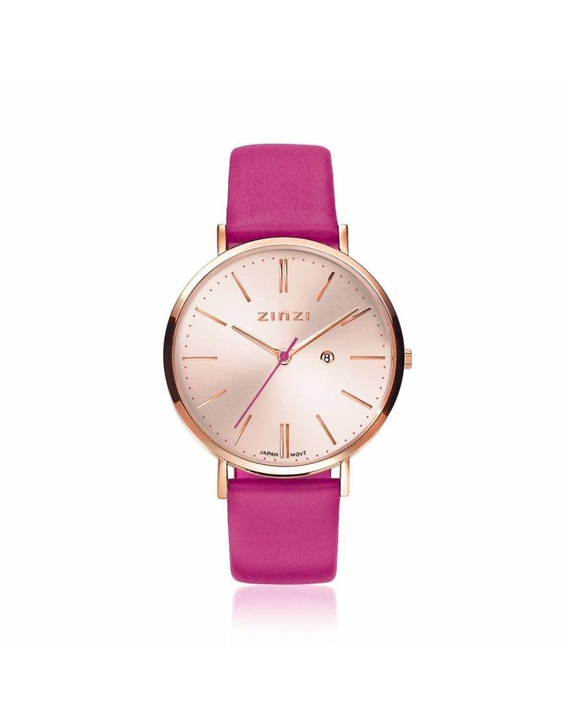Zinzi horloges Retro Horloge Rosekleurige Wijzerplaat Fuchsia Band - ZIW405F
