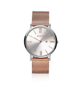 Zinzi horloges Retro Roman Horloge Zilveren Wijzerplaat Rosekleurige Band - ZIW512MR