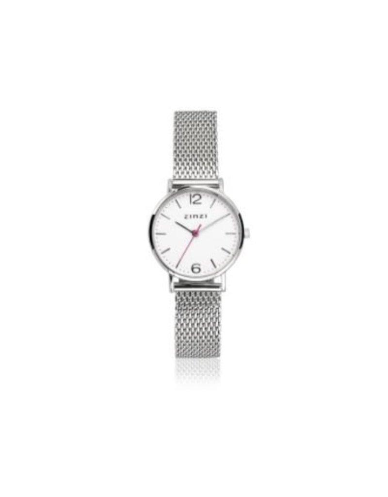 Zinzi horloges Lady Watch Witte Wijzerplaat Zilverkleurige Mesh Band - ZIW606M
