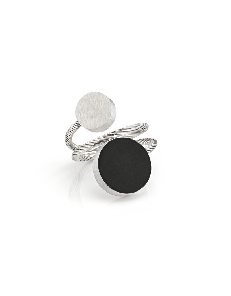 "Clic Ring mat/zwart ""one size fits most"" twee ongelijke ronde vormen - R5Z"