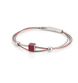Clic Armband 4 draden kubus ROOD - A230R