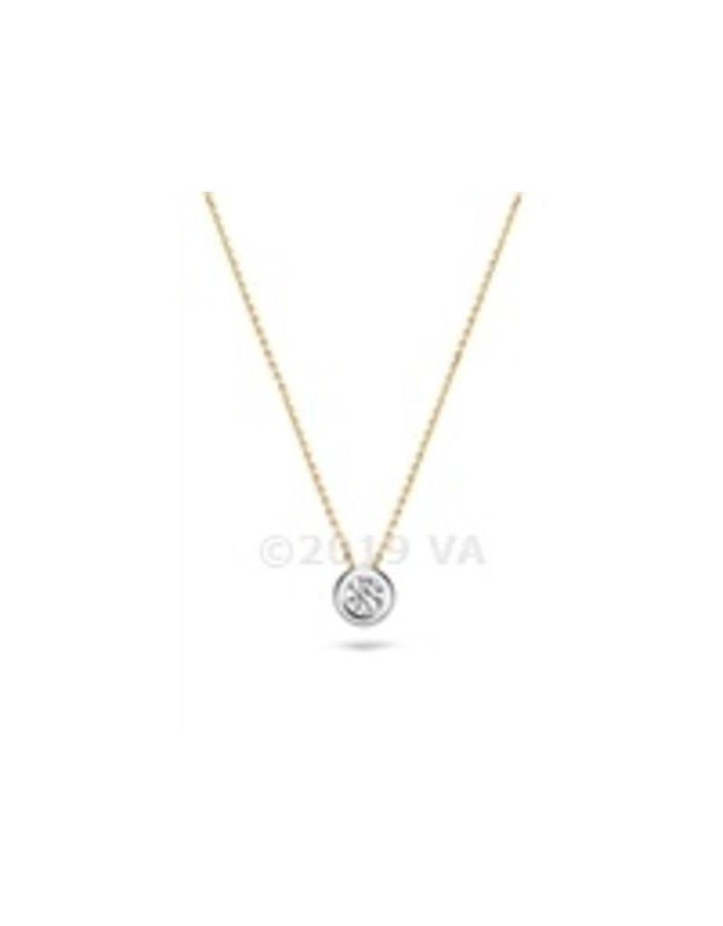 Blush 14 kt Blush Collier one 14K white gold + yg chain Cz - 3052BZI