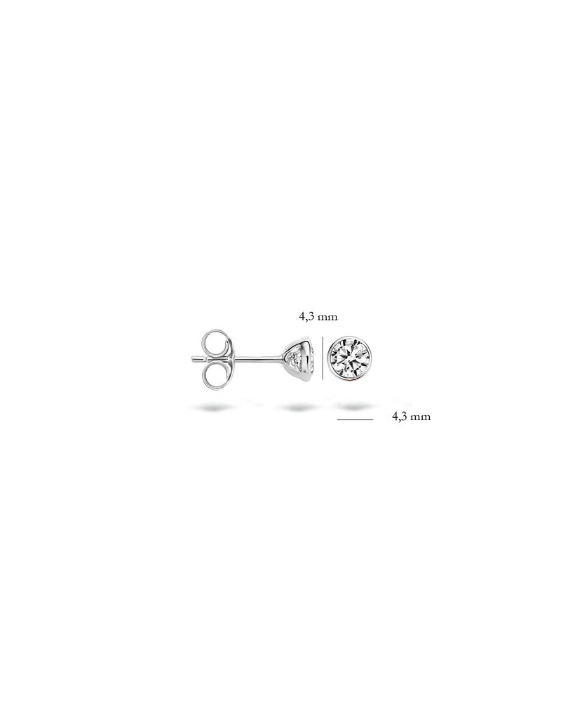 Blush 14 kt Blush Oorknoppen one 14K white gold Cz - 7257WZI