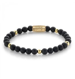 Rebel&Rose Matt Black Madonna - 6mm - yellow gold plated S - RR-60078-G-S