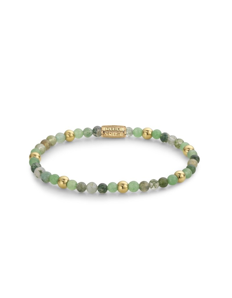 Rebel&Rose Green Morning Vibes - 4mm - yellow gold plated S - RR-40066-G-S