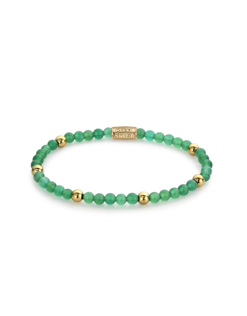Rebel&Rose Green Harmony - 4mm - yellow gold plated S - RR-40067-G-S
