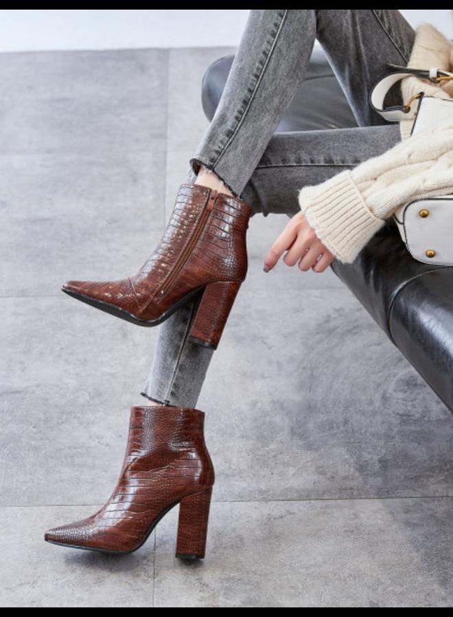 Croco boots met rits