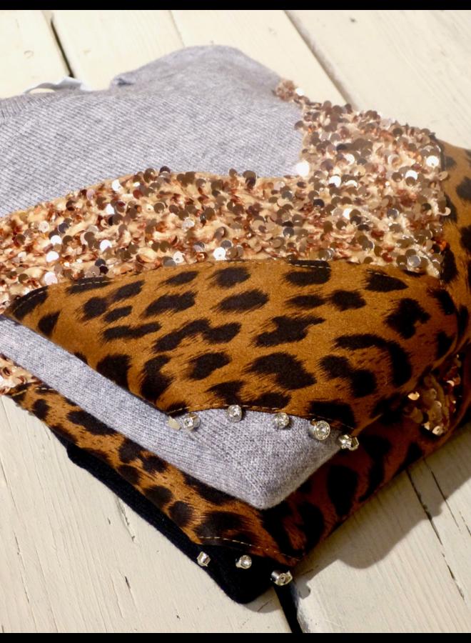 Trui met luipaard print & pailletten