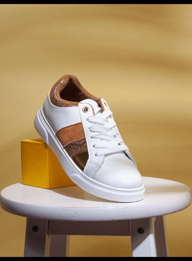 Sneaker blanc et or