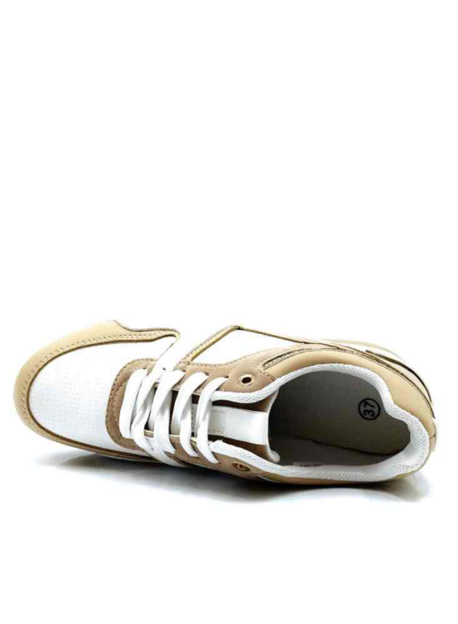 Basket surélevé (blanc/camel)