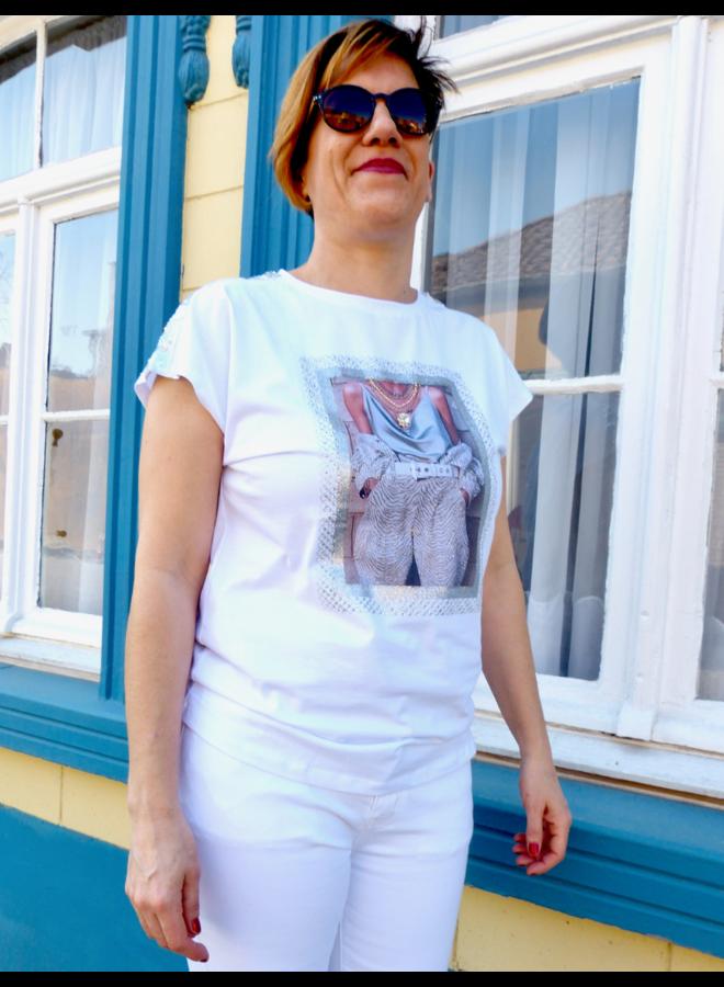 T-shirt met print & pailletten