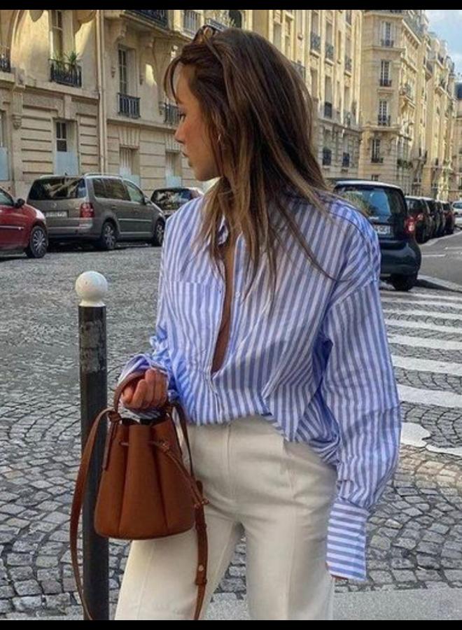 Oversized lang hemd met strepen