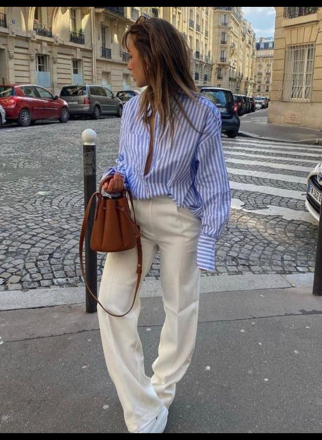 Chemise longue oversize à rayures