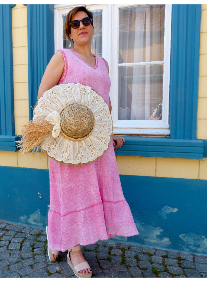 Maxi jurk in tetra stofje