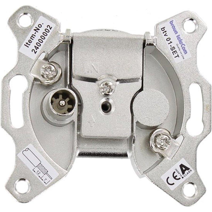 Braun Telecom wandcontactdoos BTV 01-SET inc. afdekplaat (Ziggo gecertificeerd)-1