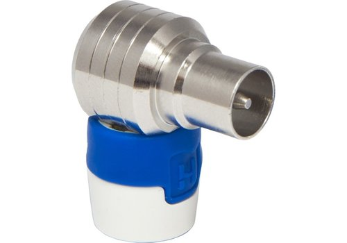 Hirschmann Male IEC connector, angled 4G/LTE proof IEC ML Blauw, Wit kabel-connector