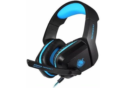 PHOINIKAS H1 multi-platform gaming-headset voor over-ear hoofdtelefoon met microfoon bedraad (blauw)