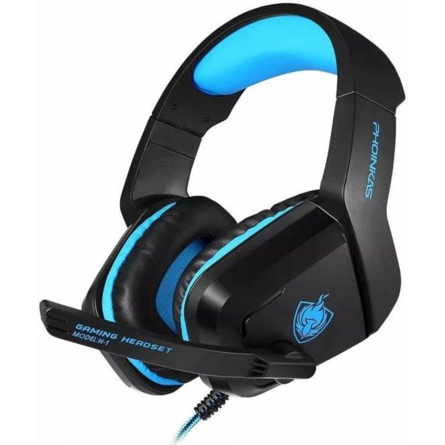 PHOINIKAS H1 multi-platform gaming-headset voor over-ear hoofdtelefoon met microfoon bedraad (blauw)-1