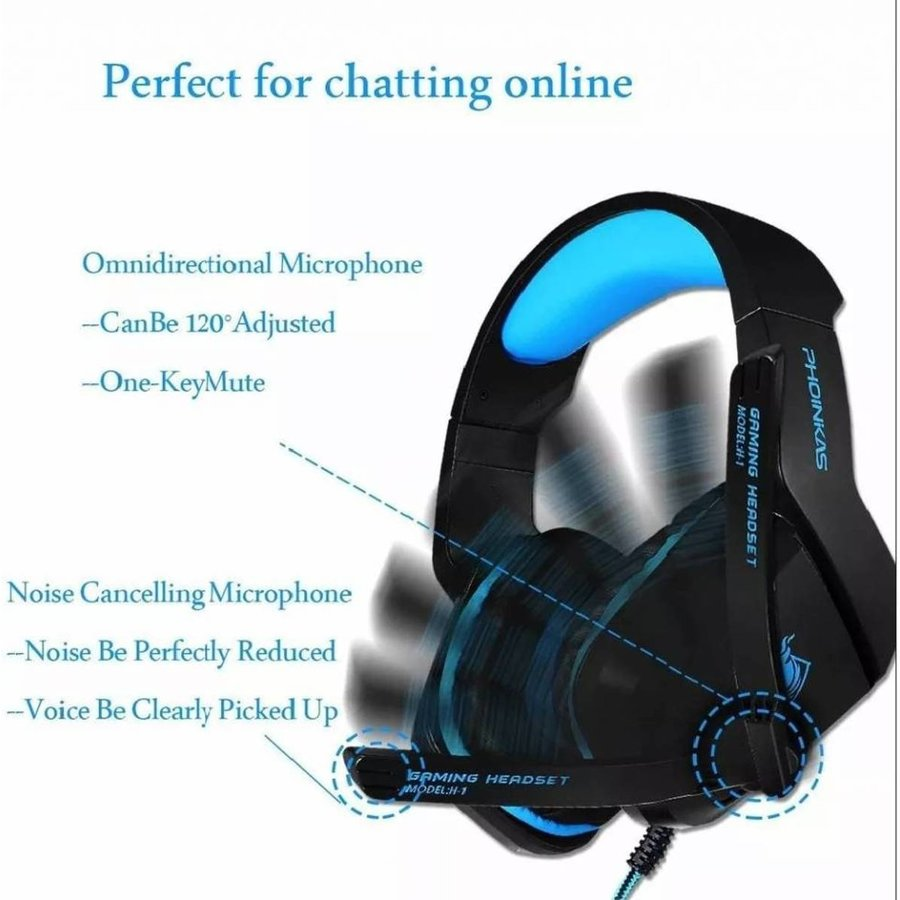 PHOINIKAS H1 multi-platform gaming-headset voor over-ear hoofdtelefoon met microfoon bedraad (blauw)-2