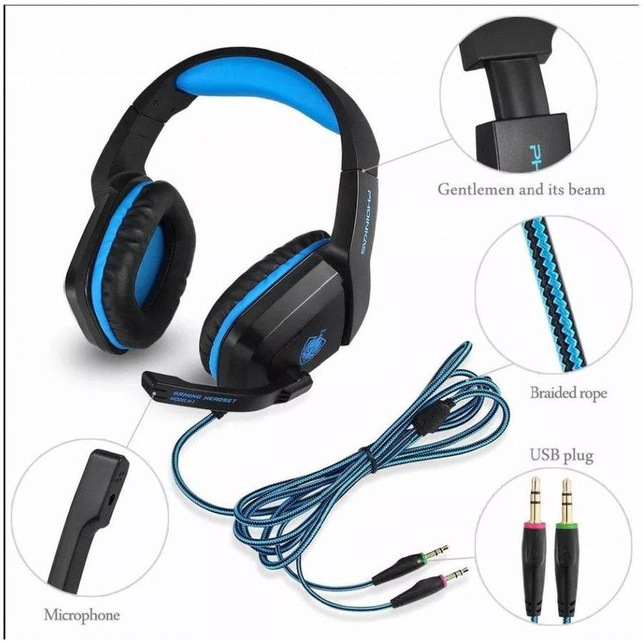 PHOINIKAS H1 multi-platform gaming-headset voor over-ear hoofdtelefoon met microfoon bedraad (blauw)-3