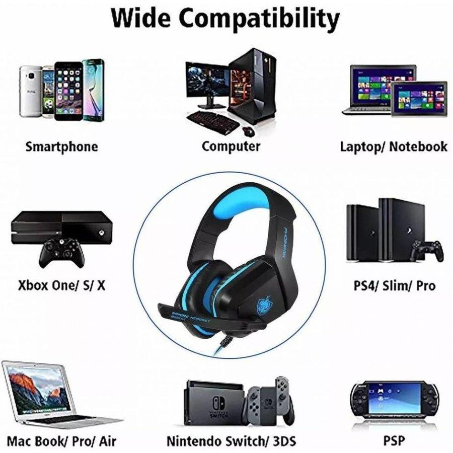 PHOINIKAS H1 multi-platform gaming-headset voor over-ear hoofdtelefoon met microfoon bedraad (blauw)-5