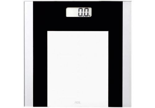 ADE digitale personenweegschaal BE1722 Ylvie weegschaal met transparant weegoppervlak, nauwkeurige gewichtsbepaling tot 180 kg, inclusief batterij, zwart-wit
