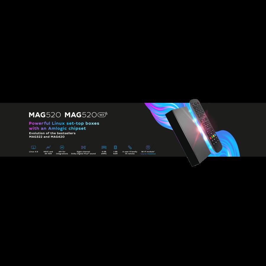 MAG 520w3 | IPTV box | Linux | 4K@60fps | HEVC | Amlogic S905X2 | Dual-band wifi 2,4 en 5 GHz-5