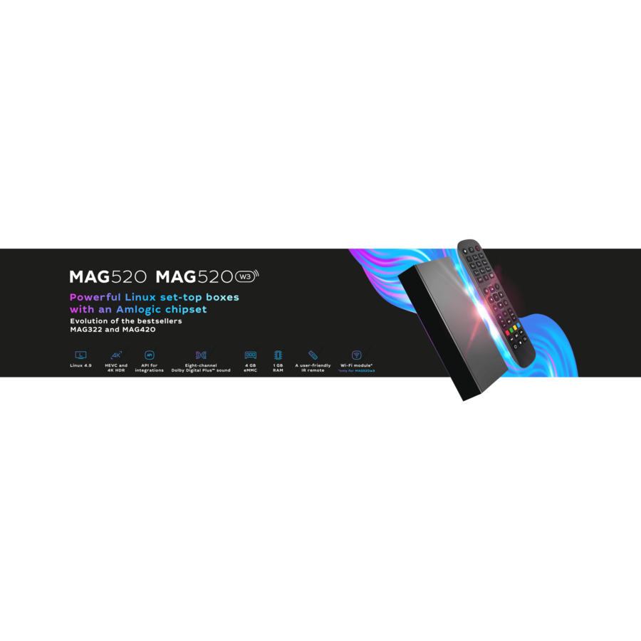 MAG520w3 | IPTV box | Linux | 4K@60fps | HEVC | Amlogic S905X2 | Dual-band wifi 2,4 en 5 GHz-5