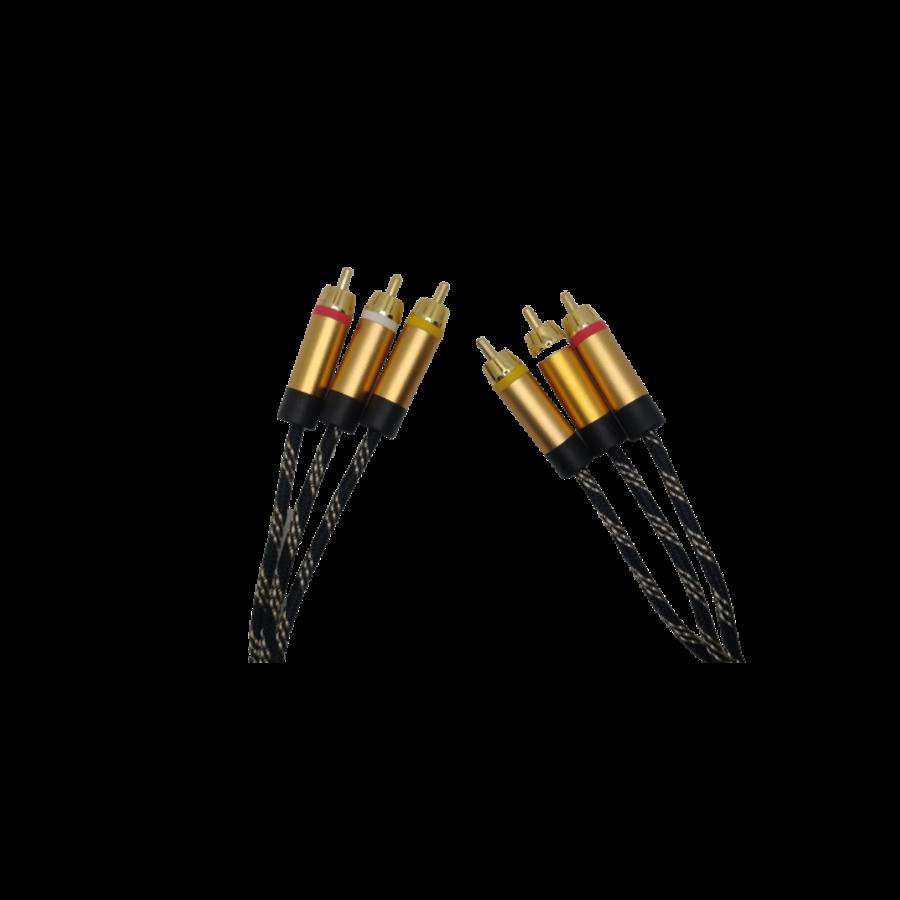 DQ-AV audio/video kabel | 2 x 3 RCA | tulp | verguld | 3 meter-1