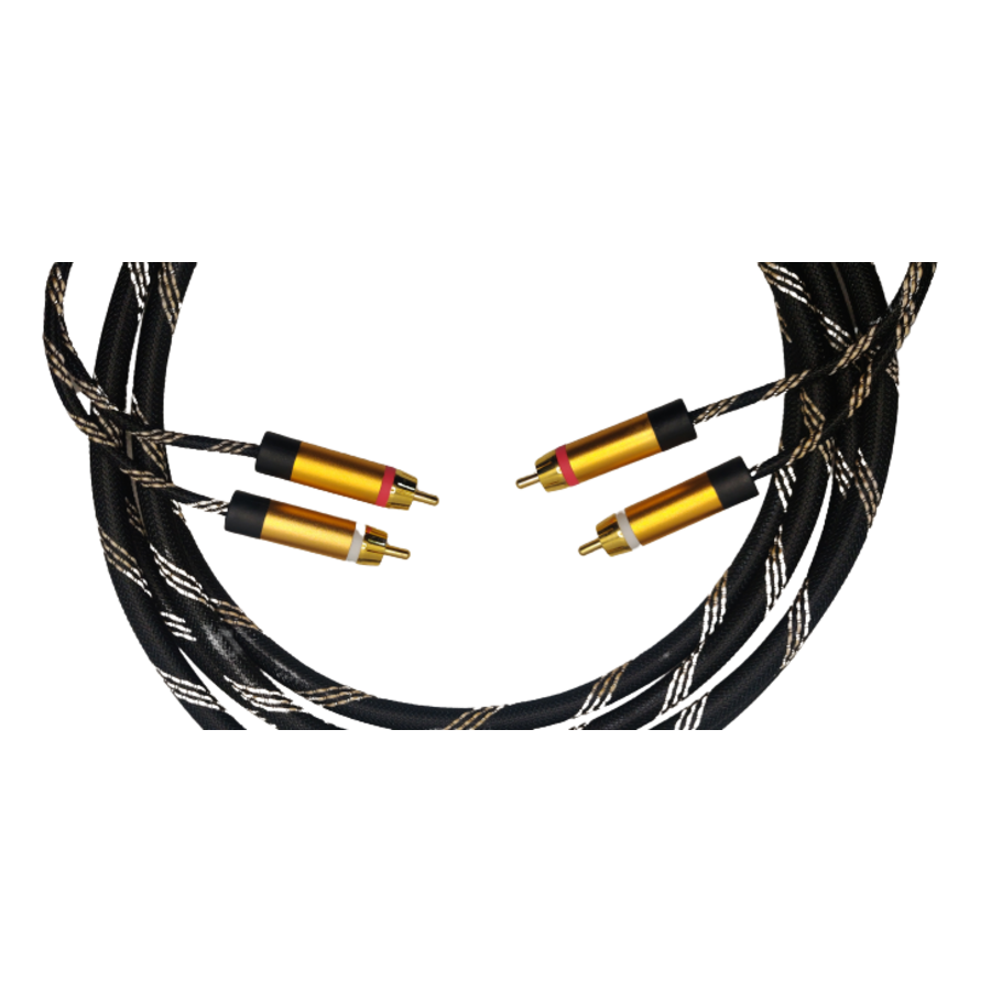 DQ-AV audio kabel   2 x 2 RCA   tulp   verguld   3 meter-1