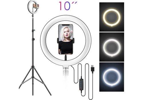 LED ringlamp met statief met telefoonhouder | verstelbaar tot 2,10m | TikTok lamp