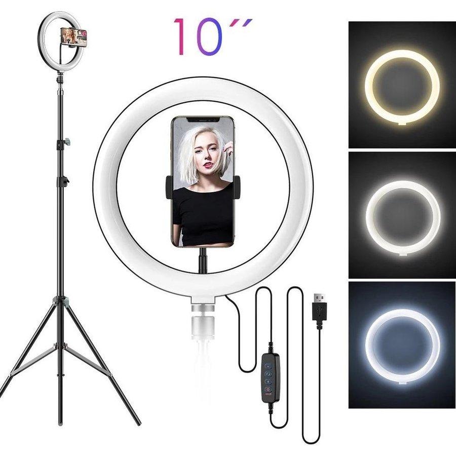 LED ringlamp met statief met telefoonhouder | verstelbaar tot 2,10m | TikTok lamp-1