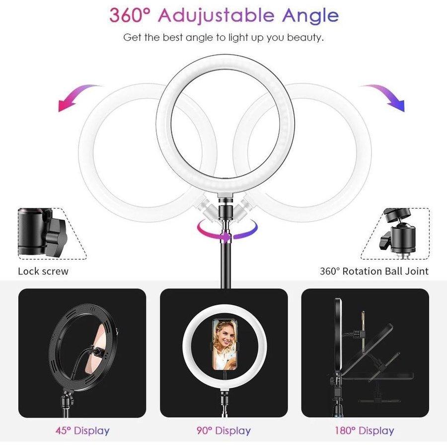 LED ringlamp met statief met telefoonhouder | verstelbaar tot 2,10m | TikTok lamp-4