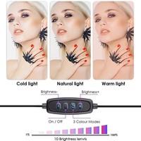 thumb-LED ringlamp met statief met telefoonhouder   verstelbaar tot 2,10m   TikTok lamp-6