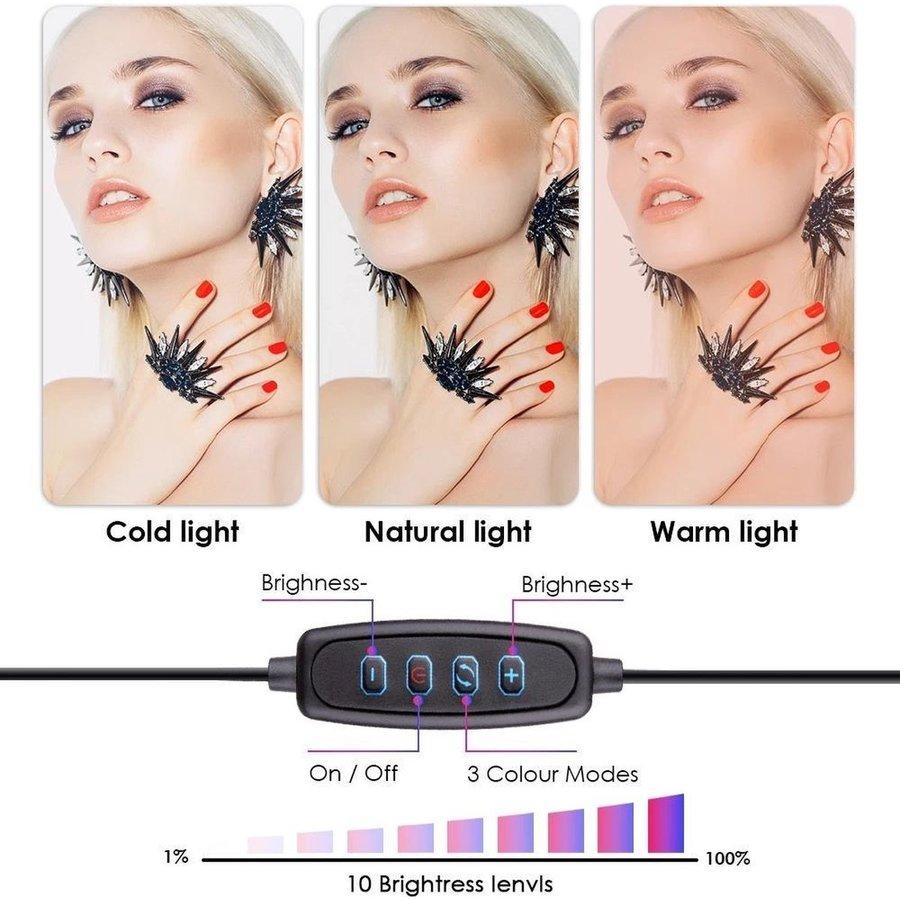 LED ringlamp met statief met telefoonhouder   verstelbaar tot 2,10m   TikTok lamp-6