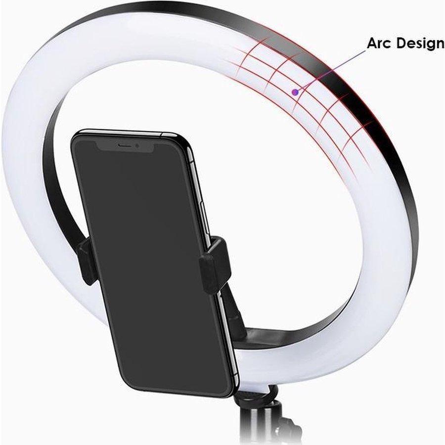LED ringlamp met statief met telefoonhouder   verstelbaar tot 2,10m   TikTok lamp-7